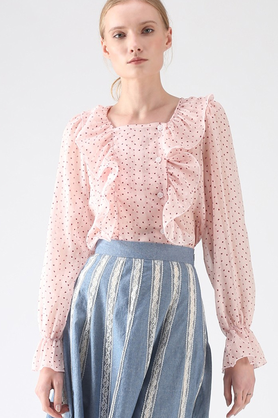 Chicwish Endless Love Semi-Sheer Ruffle Top in Pink