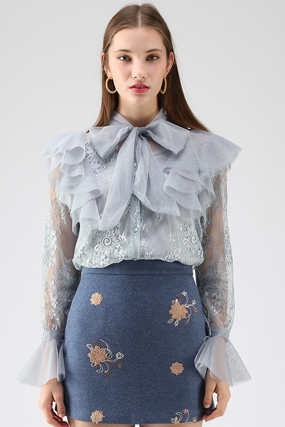 Chicwish Floral and Ruffle Bowknot Lace Top in Dusty Blue