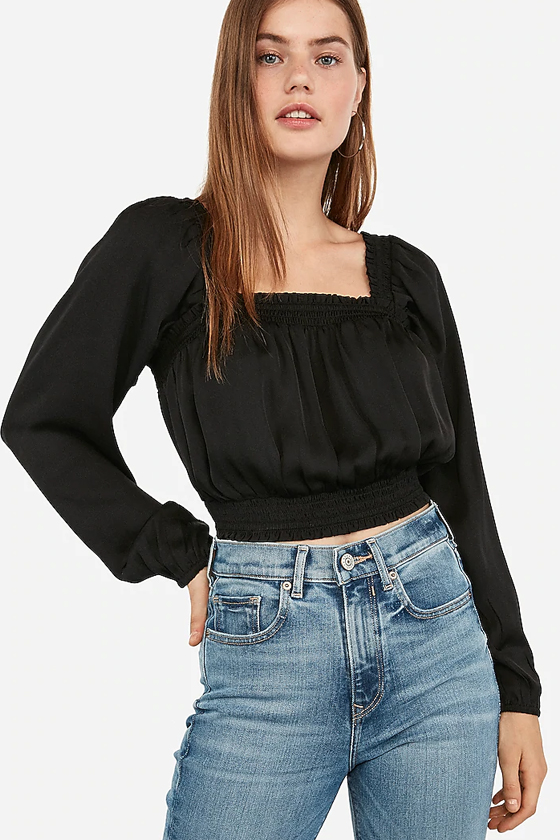 Express Square Neck Smocked Cropped Top