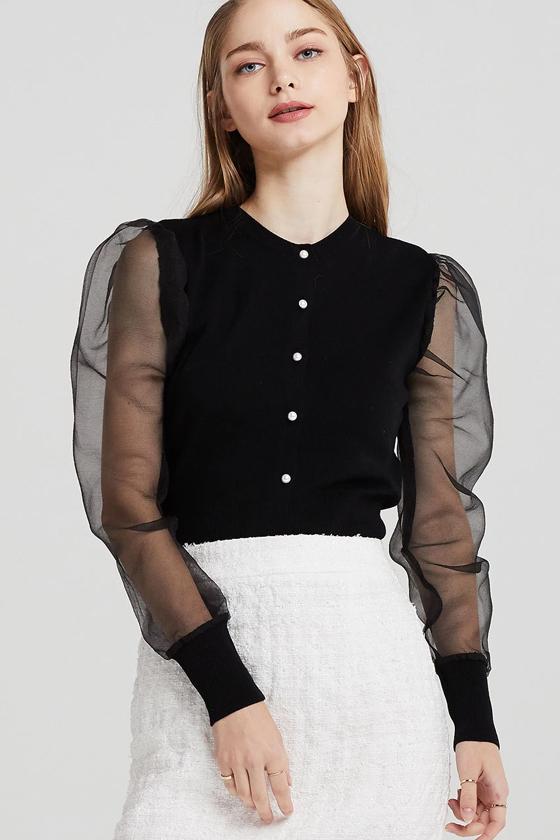 Storets Luna Buttoned Cardigan w/Organza Sleeve