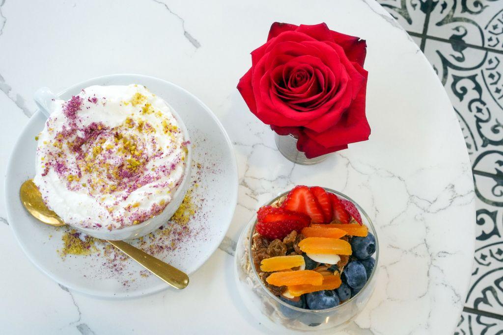 Utopia European Caffe, Utopia Latte with white rose petals, Utopia Yogurt with fruit