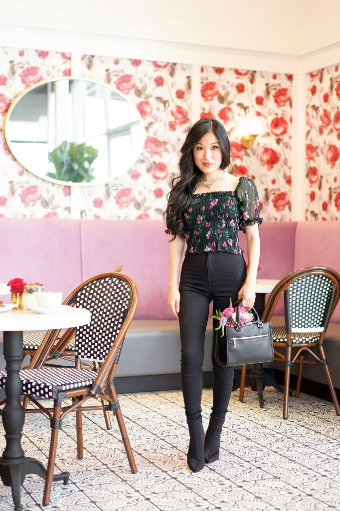Utopia European Caffe, WAYF Amber Crop Top in Black Tulip Floral