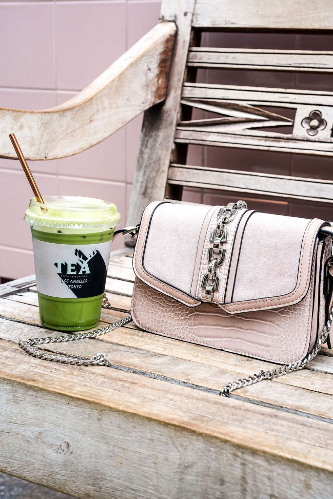 Alfred Tea Room, Green Matcha Iced Latte, Rose Gold Straw, Topshop Casey Chain Crossbody Bag in Stone Color, Michael Kors Rose Gold Liv Trainer Sneakers
