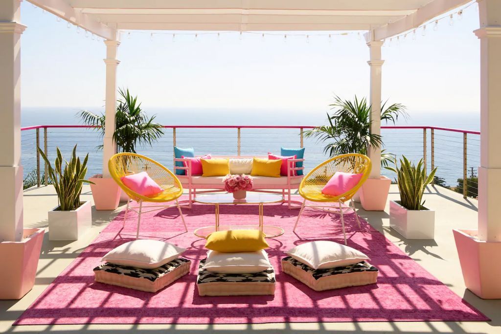 Barbie Malibu Dreamhouse Pink Deck overlooking the ocean Airbnb