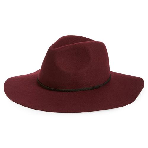 BP Wide Brim Felt Panama Burgundy Hat