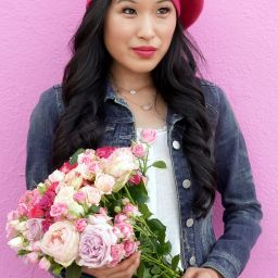 Anthropologie Edith Pink Beret, Estee Lauder Pink Ribbon Pin, Euphoria $20 Pink Rose Bouquet
