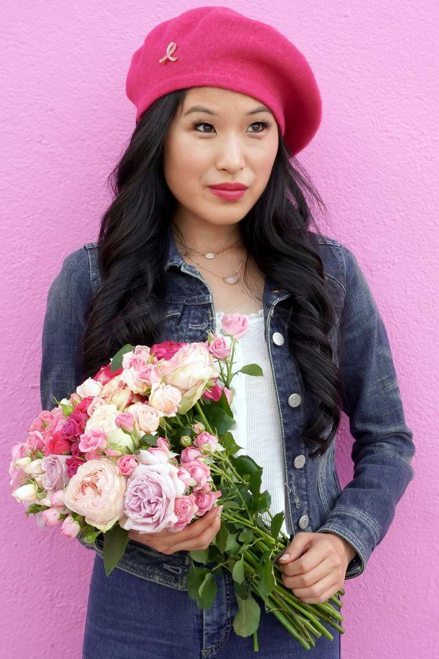 Anthropologie Edith Pink Beret, Estee Lauder Pink Ribbon Pin, Euphoria $20 Pink Rose Bouquet