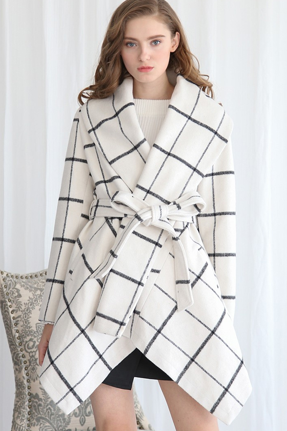 Chicwish Prairie Grid Rabato Coat in White, Sizing Starts XXS