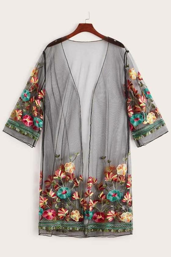 SHEIN Floral Embroidered Mesh Kimono