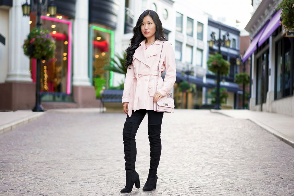 Forever 21 Pink Faux Suede Trench Coat Jacket,Rebecca Minkoff Small Je T'Aime Pink Crossbody Bag