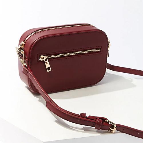 Faux Leather Crossbody Burgundy Bag