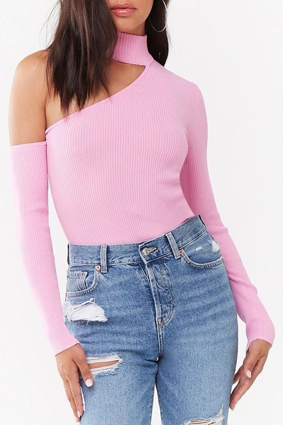 Forever 21 Mock Neck Cutout Sweater in Pink
