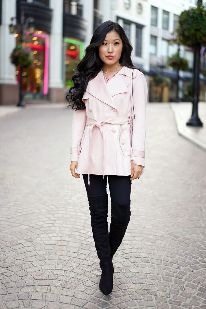 Forever 21 Pink Faux Suede Trench Coat Jacket