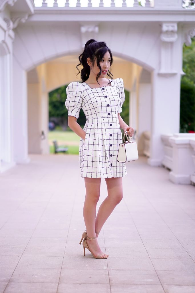 Gal Meets Glam Dawn Windowpane Shirtdress