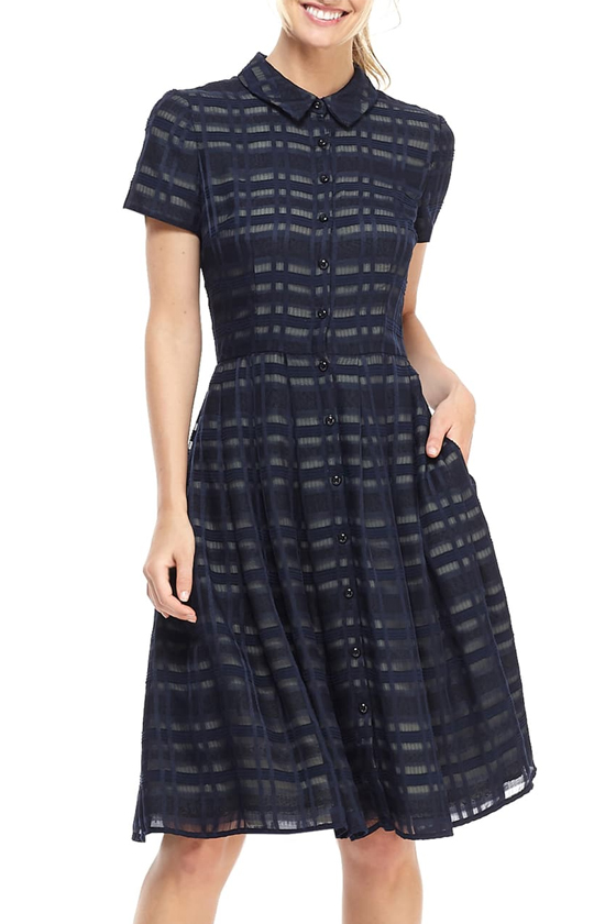 Gal Meets Glam Mackenzie Windowpane Jacquard Shirtdress