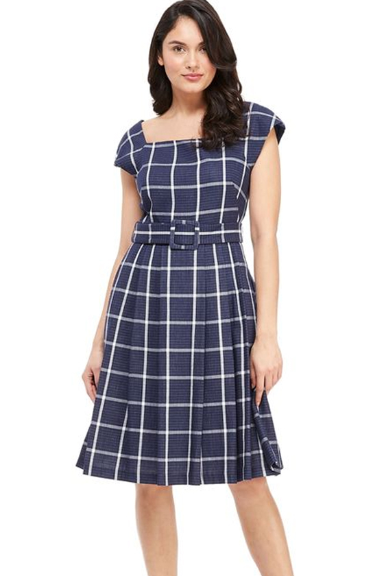 Gal Meets Glam Windowpane Karen Navy Dress