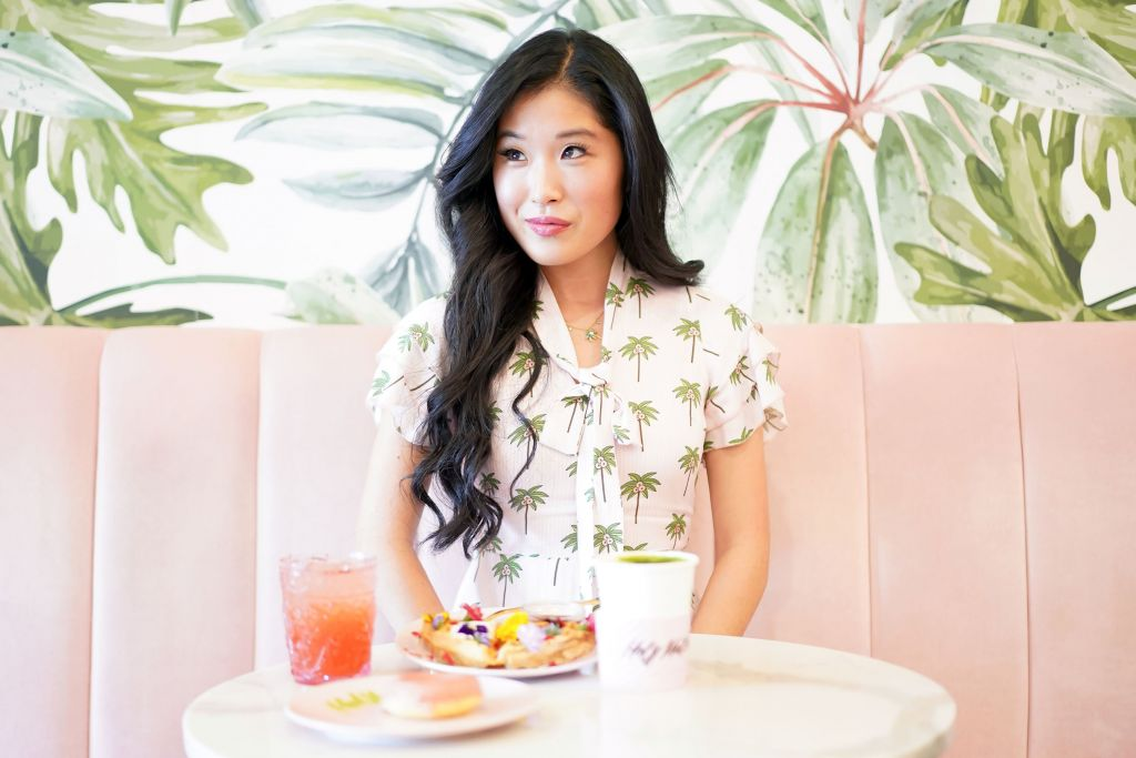Holy Matcha La Jolla, Alice & Olivia Pink Palm Tree Romper and Flower Waffle