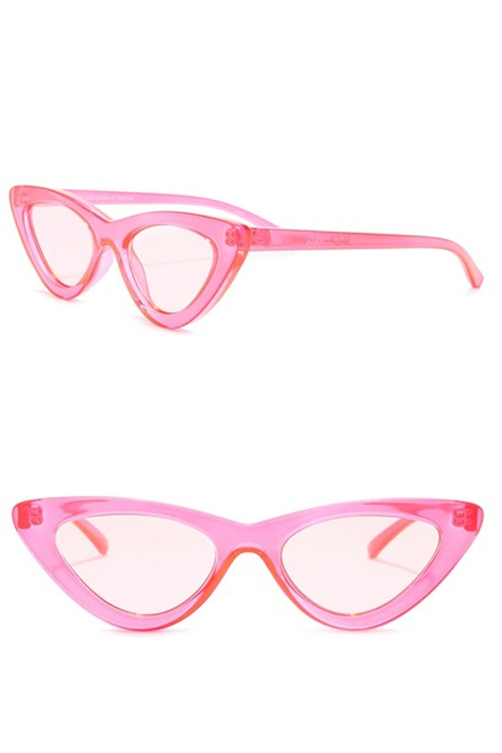 Le Specs 51mm The Heart Breaker Cat Eye Sunglasses in Crystal Hot Pink