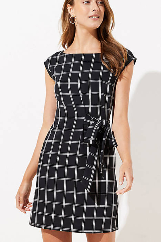 LOFT Petite Windowpane Side Tie Dress