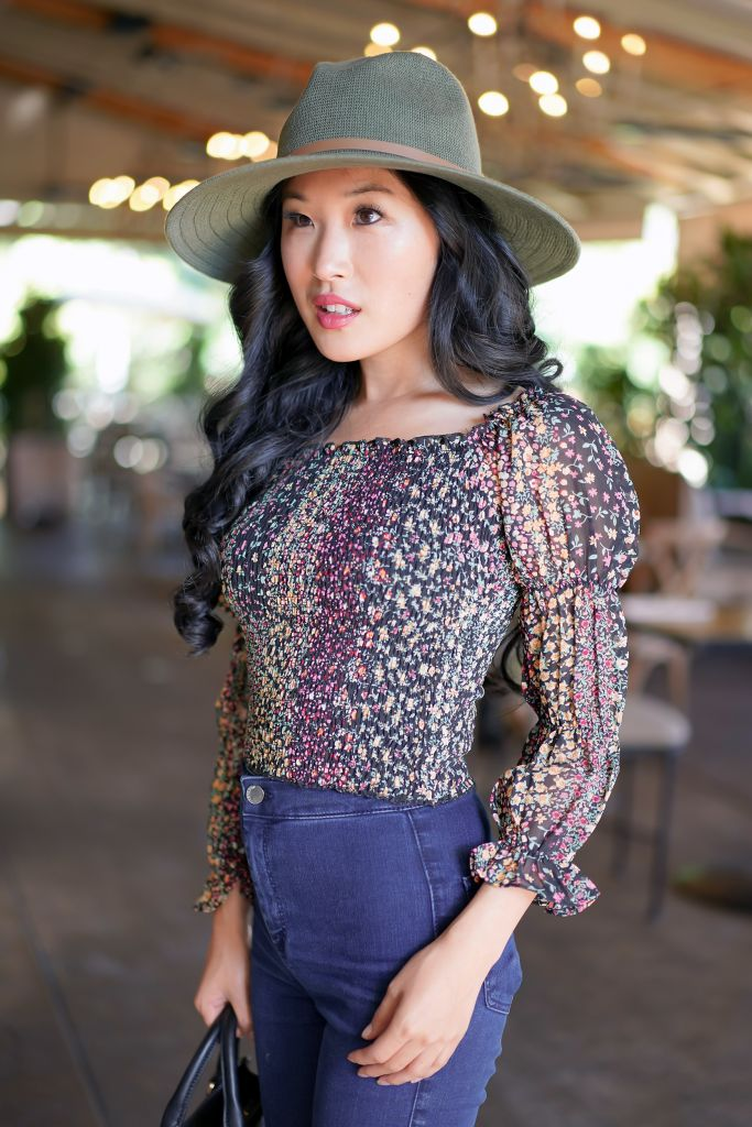 Lulus Mindset Black Floral Print Smocked Puff Sleeve Top, Anthropologie Lianna Rancher in Green