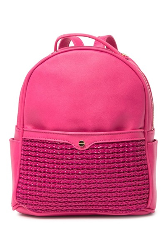 Mali + Lili Lili Vegan Leather Basketweave Backpack in Hot Pink