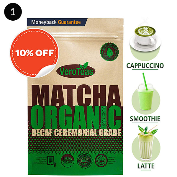 Vero Teas Matcha Green Tea Powder – Organic Premium Decaf Ceremonial Grade