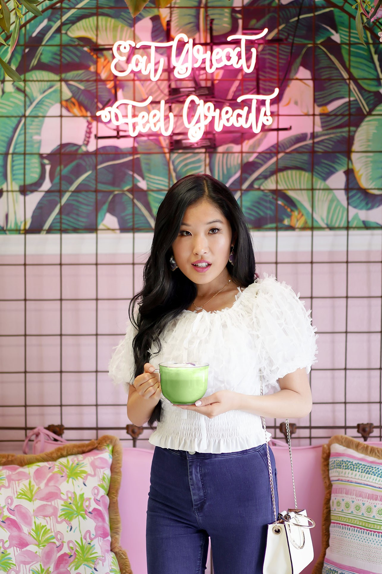 Matcha and More, Eat Great Feel Great Pink Neon sign
