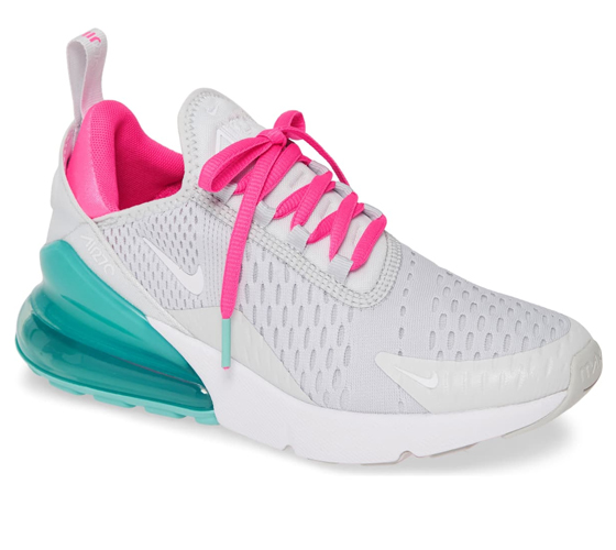 Nike Air Max 270 Premium Sneaker in Platinum/White/Pink Blast Color