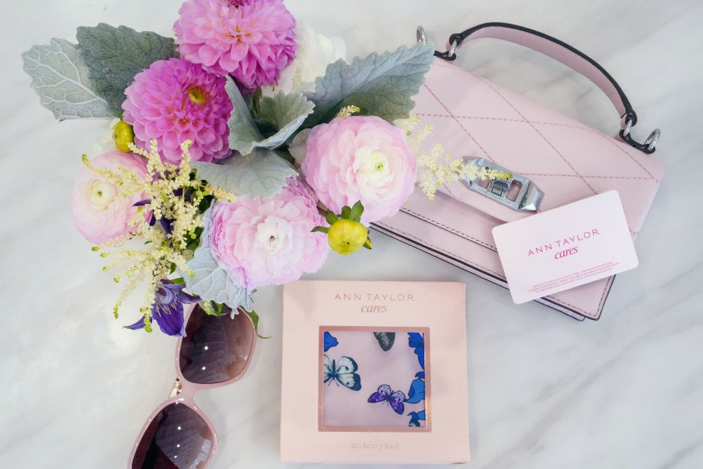 Power of Pink and Ann Taylor Cares, Give Back by purchasing an Ann Taylor Gives Back card and mini scaf, LOFT glam butterfly sunglasses, Pink Rebecca Minkoff Je T'aime crossbody