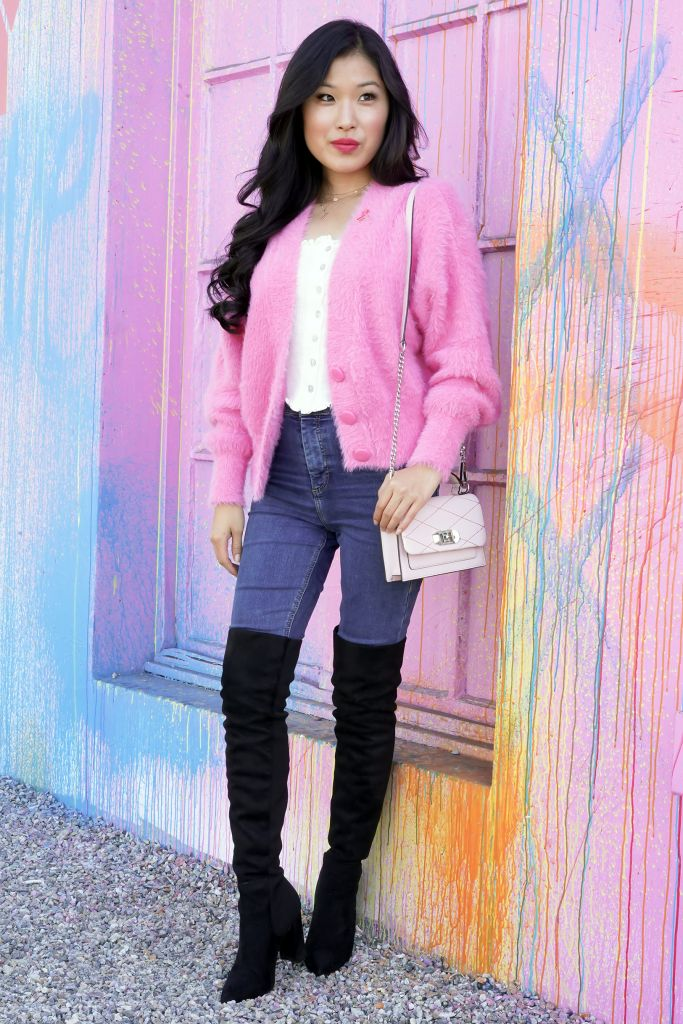 Power of Pink - Pink Fuzzy Button Down Cardigan from Forever 21 and Steven Madden Everly Over the Knee Black Boots