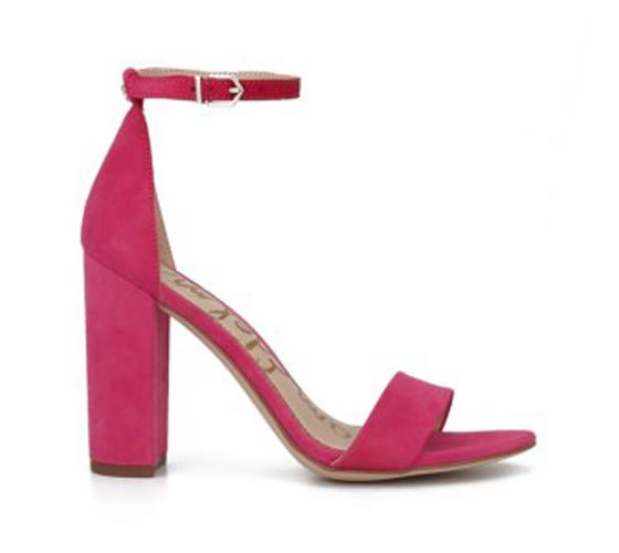 Sam Edelman Yaro Block Heel Sandal in Pink Peony Suede