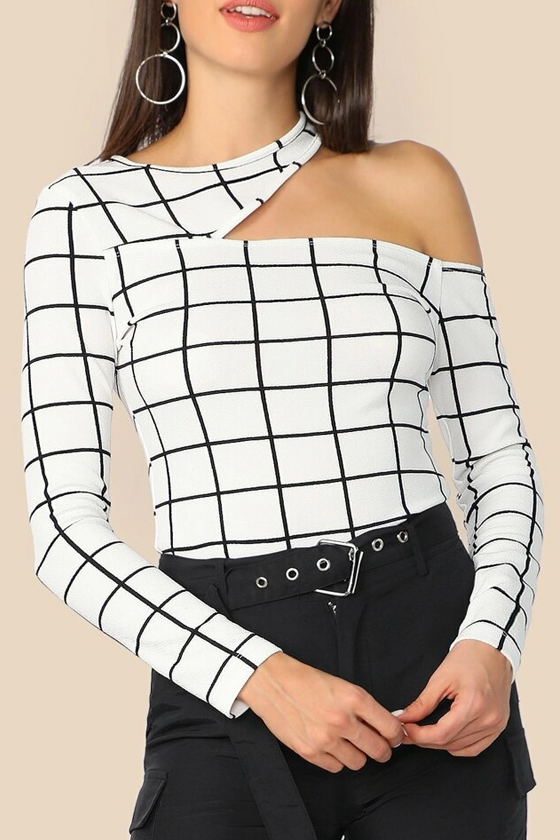 SHEIN Asymmetric Cutout Neck Grid Fitted Top
