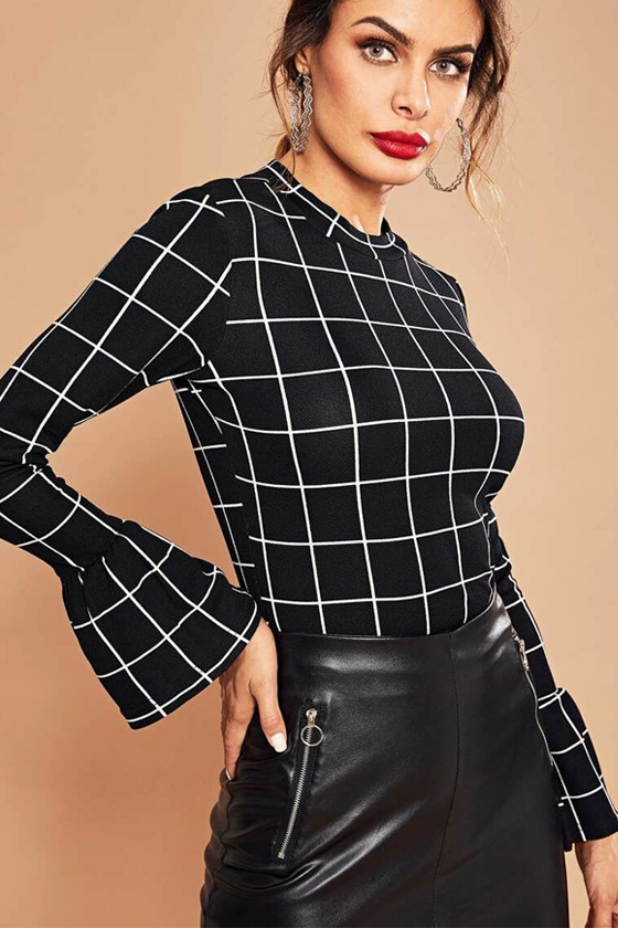 SHEIN Bell Sleeve Grid Top