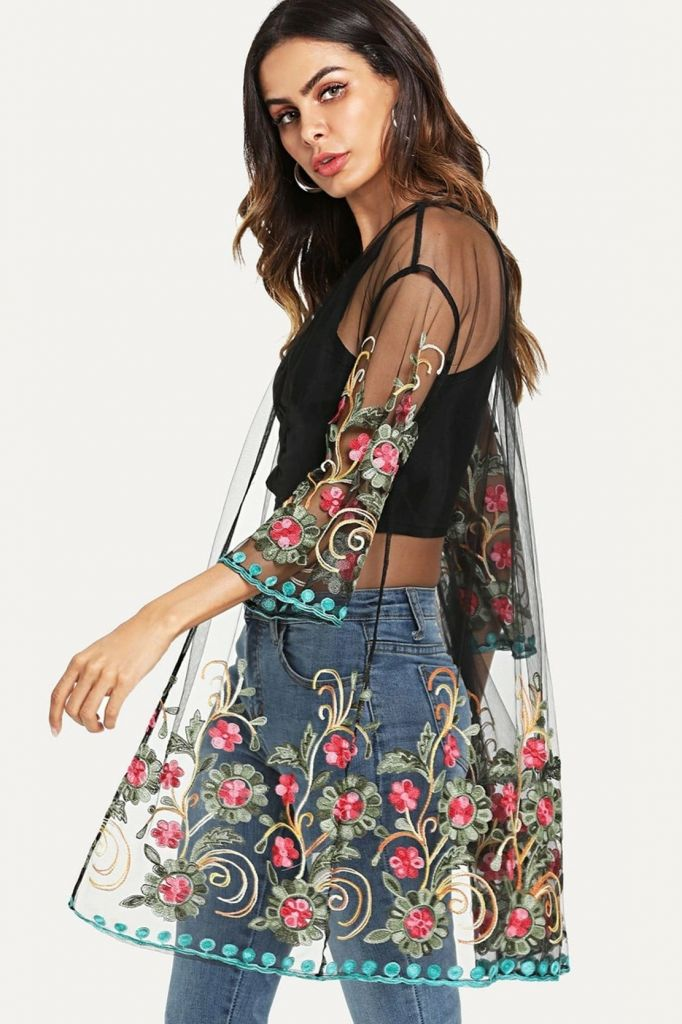 SHEIN Floral Embroidered Sheer Mesh Kimono