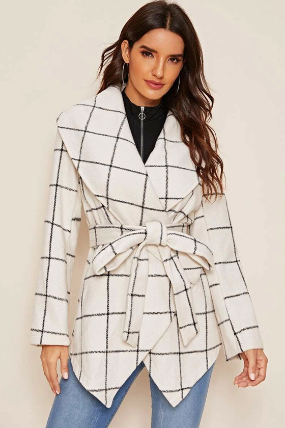 SHEIN Grid Print Hanky Hem Belted Waterfall Coat