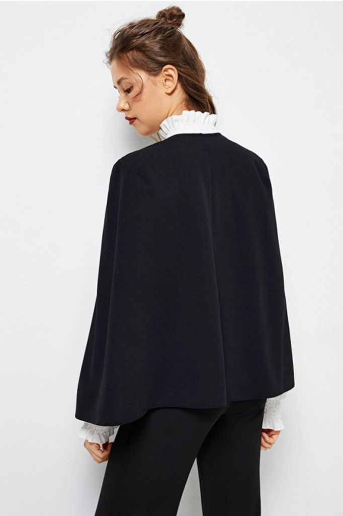 SHEIN Cloak Sleeve Open Front Blazer Back