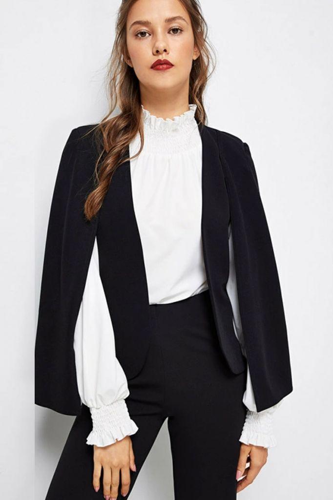 SHEIN Cloak Sleeve Open Front Blazer