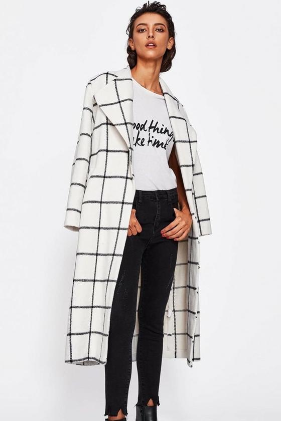 SHEIN Drape Collar Grid Longline Coat