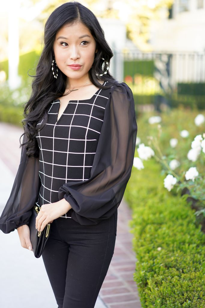SHEIN V-Cut Sheer Lantern Sleeve Grid Top