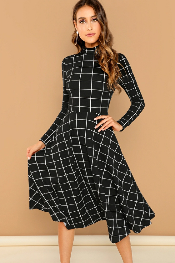 SHEIN Mock-Neck Grid Flare Midi Dress