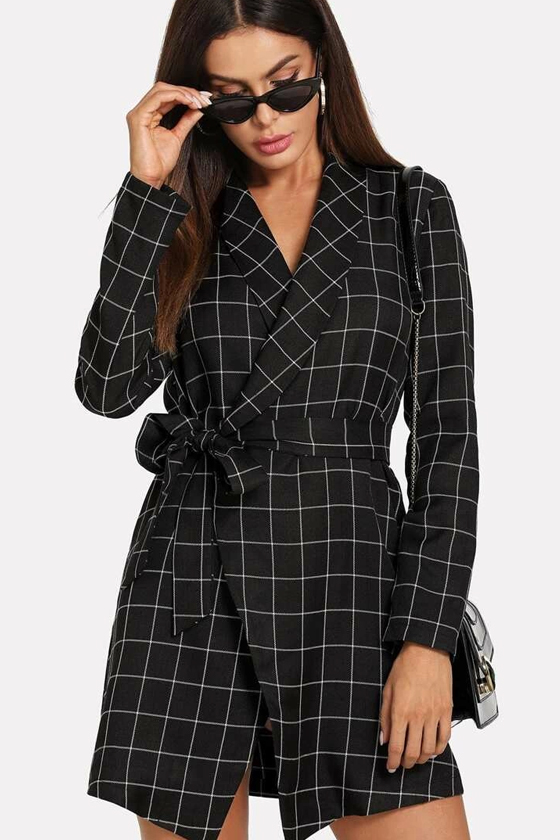 SHEIN Shawl Collar Self Tie Wrap Grid Coat