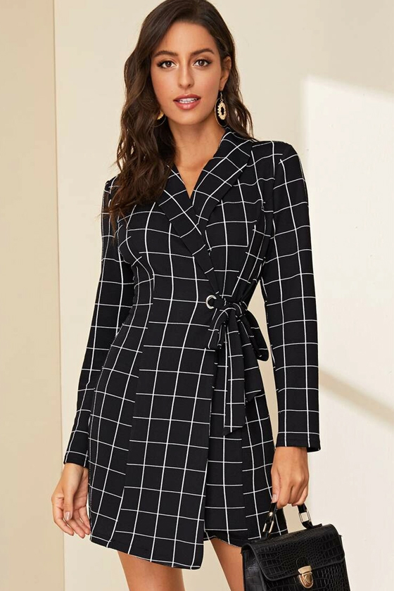 SHEIN Shawl Neck Plaid Tie Side Wrap Outerwear