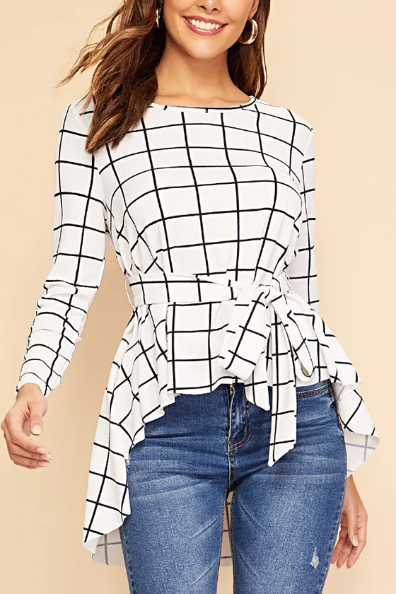 SHEIN Waist Belted Asymmetrical Hem Grid Top