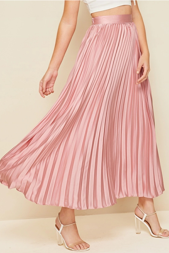 SHEIN Zipper Side Pleated Satin Skirt in Pastel Pink