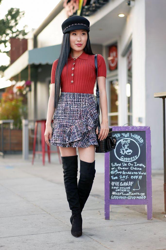 Soup Goddess, Forever 21 Ribbed Knit Rust Shirt, Tweed Mini Skirt, Target Felt Chain Black Hat
