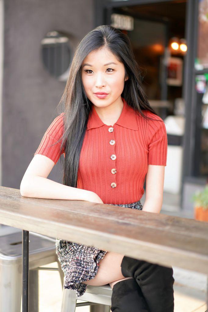 Soup Goddess Outside Seating, Forever 21 Ribbed Knit Shirt, Tweed Mini Skirt