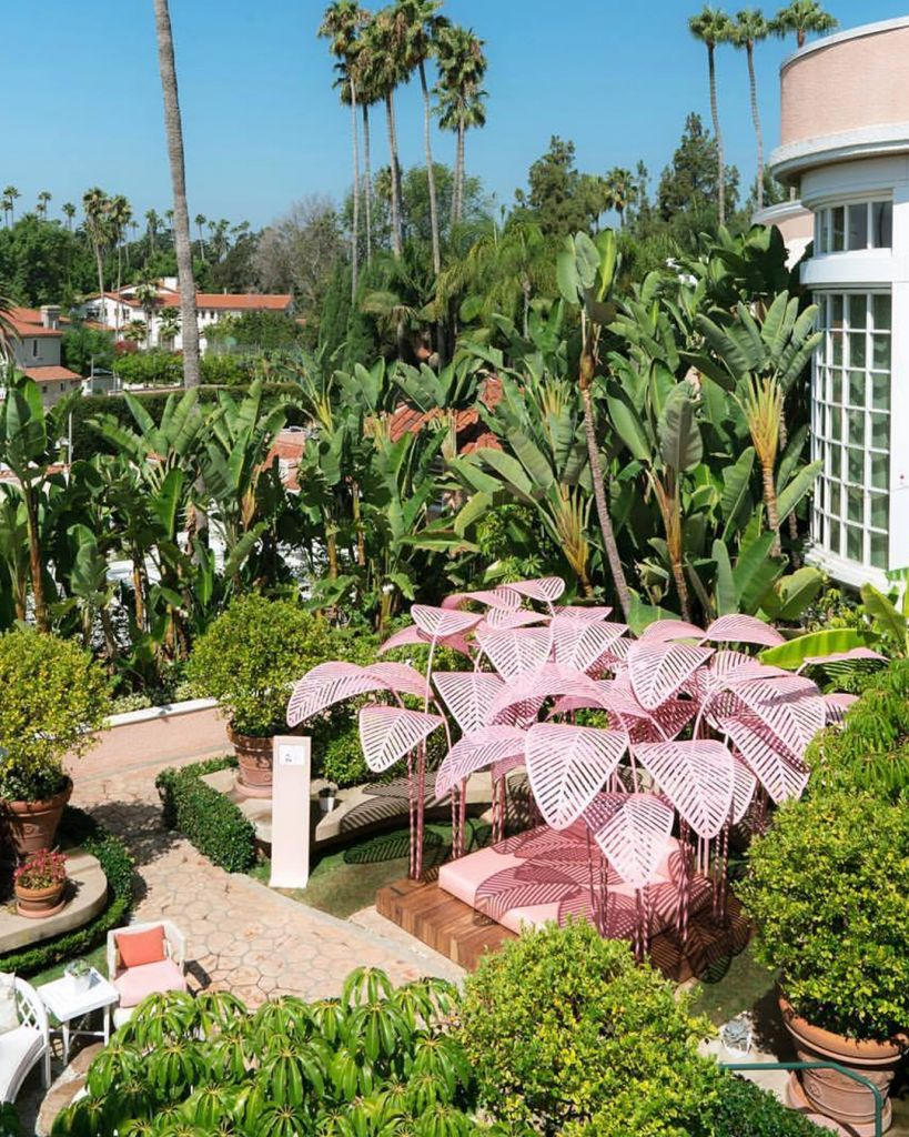 The Beverly Hills Hotel, Pink Palm Trees Le Refuge by Marc Ange