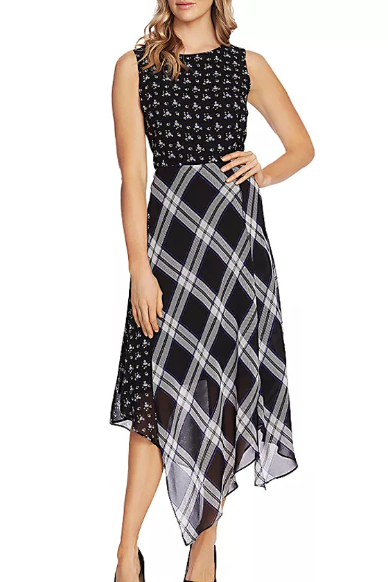 Vince Camuto Windowpane Floral Print Midi Dress