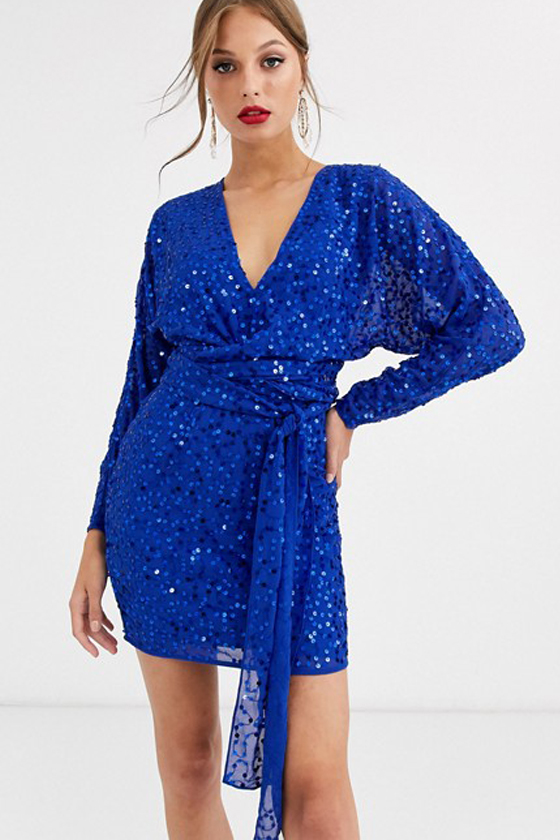 Asos Design Mini Dress With Batwing Sleeve And Wrap Waist In Scatter Sequin