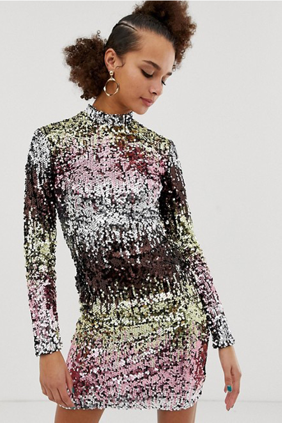 ASOS New Look Long Sleeve Bodycon Dress In Multicoloured Sequin